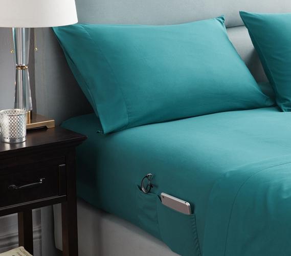 Bedside Pocket Twin XL Sheet Set   Supersoft Ocean Depths Teal