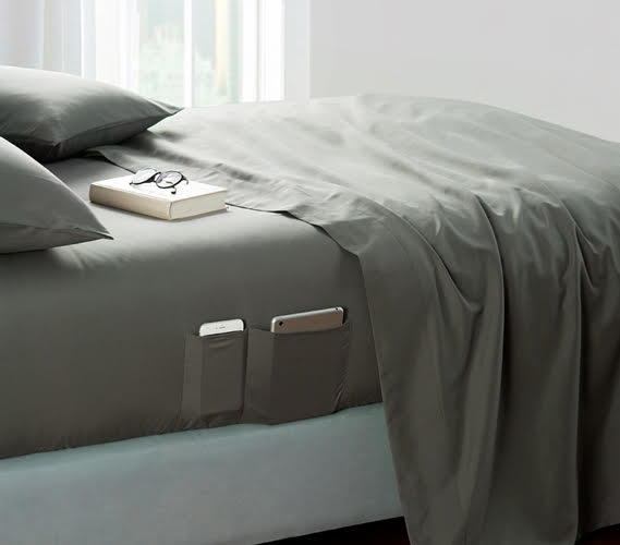 Bedside Pocket Twin XL Sheet Set   Supersoft Pewter