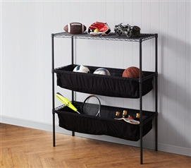 Gunmetal Gray Metal Frame Shelving with Black Fabric Bins for Ultimate College Storage Suprima® Shelf Supreme