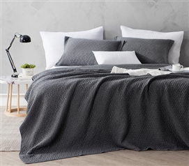 Essential College Bedding Pewter Gray Comfy Softest Stone Washed Extra Long Twin Quilt