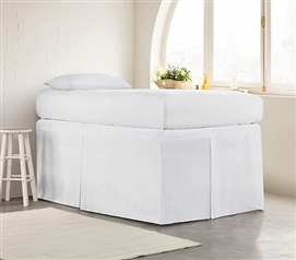 Tailored Dorm Sized Bed Skirt - White