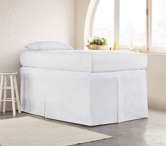 Tailored Dorm Sized Bed Skirt   White