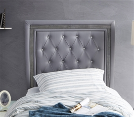 Tavira Allure College Dorm Headboard - Alloy with Black Crystal Border