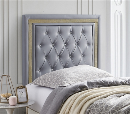 Tavira Allure College Dorm Headboard - Alloy with Gold Crystal Border