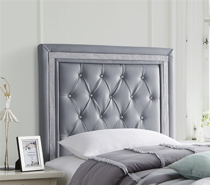 Tavira Allure® Dorm Decor Alloy Gray with Silver Crystal Border College Dorm Headboard