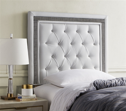 Tavira Allure College Dorm Headboard - Glacier Gray with Black Crystal Border