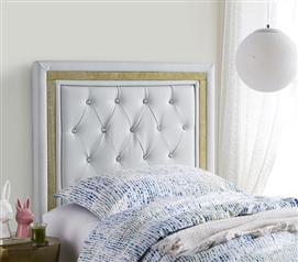 Tavira Allure College Dorm Headboard - Glacier Gray with Gold Crystal Border