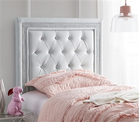 Glacier Gray with Silver Crystal Border Decorative College Dorm Headboard Tavira Allure