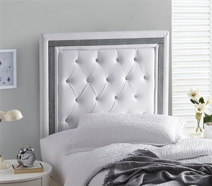 Tavira Allure Dorm Headboard Stylish College Decor White with Black Crystal Border
