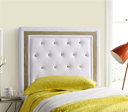College Dorm Headboard Tavira Allure White with Gold Crystal Border