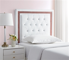 Tavira Allure College Dorm Headboard - White with Crimson Crystal Border