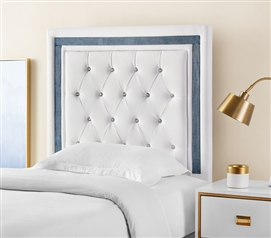 Tavira Allure College Dorm Headboard - White with Navy Crystal Border