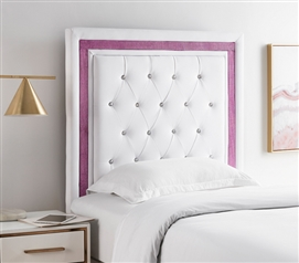 Tavira Allure College Dorm Headboard - White with Purple Crystal Border