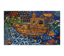 3D Steampunk Tug Tapestry