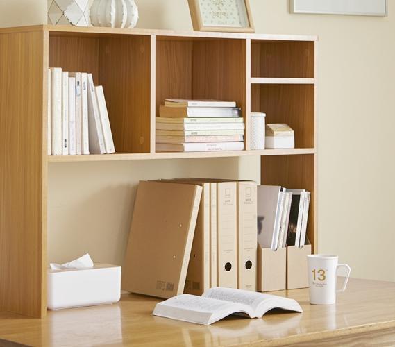 The College Cube Dorm Desk Bookshelf Beech Natural Wood