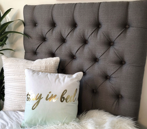 Handmade Linen Grey Twin Extra Long Headboard Fashionable