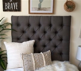 Unique Tufted Dorm Room Headboard Linen Graphite Dark Grey College Twin XL Bedding Decor
