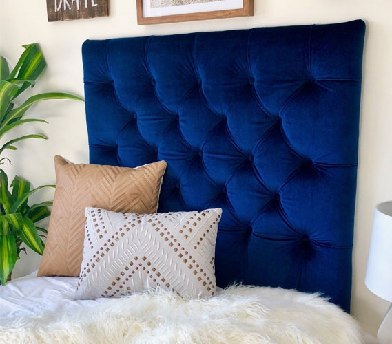 Beau Velvet Plush Navy Tufted College Headboard