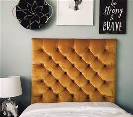 Plush Gold Tufted College Headboard