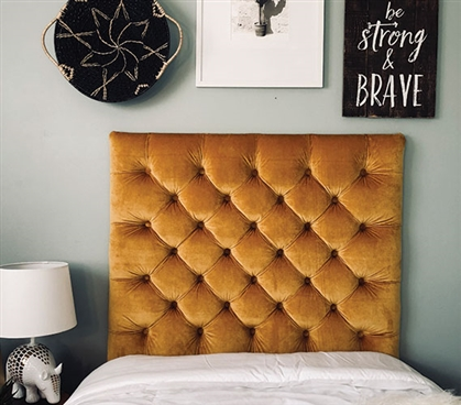 Stylish Gold College Twin XL Bedding Decor Comfortable Plush Tufted Handmade Dorm Room Headboard