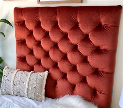 Rust Colored College Bedding One of a Kind Dorm Room Headboard Comfortable Plush Tufted Dorm Decor