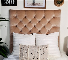 One of a Kind Twin XL Bedding Tan Dorm Room Headboard Comfortable Tufted Design
