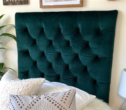 Soft Tufted Dorm Room Headboard for Twin XL Bedding Pretty Emerald Plush College Decor