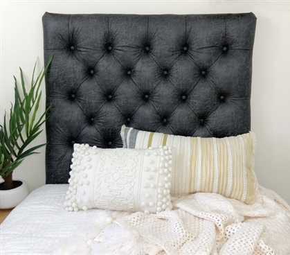Faux Leather Smoke Tufted College Headboard