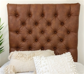 Faux Leather Cognac Tufted College Headboard