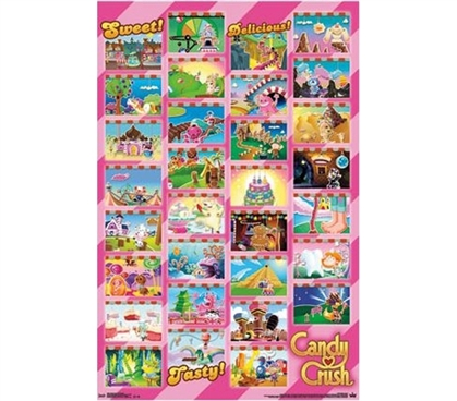 Shopping Essentials For College - Candy Crush - Worlds Grid Poster - Buy Items For College
