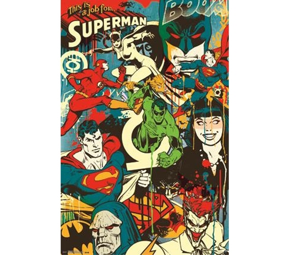 Dc Comics Wall Art dc comics - throwback poster decorate your dorm posters for