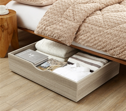The Storage MAX - Underbed Wooden Organizer With Wheels - Natural