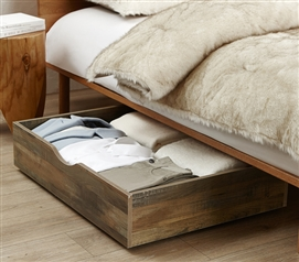 The Storage MAX - Underbed Wooden Organizer With Wheels - Rustic
