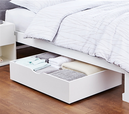 The Storage MAX Essential Underbed Storage White Wooden Dorm Room Organizer With Wheels