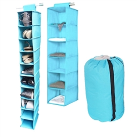 TUSK 3-Piece College Closet Set - Aqua (Hanging Shoe Version) Dorm Essentials Dorm Storage Solutions Must Have Dorm Items