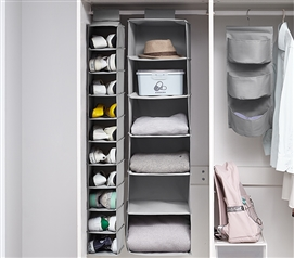 TUSK 3-Piece College Closet Set - Gray (Hanging Shelves Version)