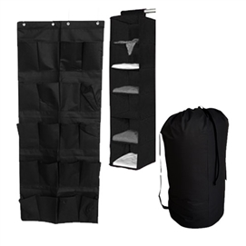 TUSK® 3-Piece College Closet Pack - Black (Over Door Shoe Version) Dorm Essentials Dorm Organization