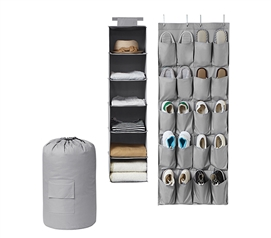 TUSK 3-Piece College Closet Pack - Gray (Over Door Shoe Version) Dorm Storage Solutions Dorm Necessities