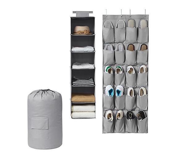 TUSK 3 Piece College Closet Pack   Gray (Over Door Shoe Version)