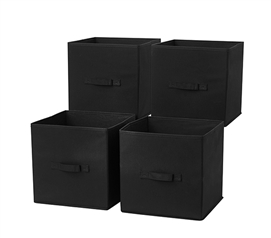 TUSK® Fold Up Cube 4-Pack - Black Dorm Items Dorm Storage Solutions