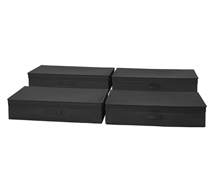 TUSK Underbed Folding Box 4-Pack - Black Under Bed Storage Dorm Essentials
