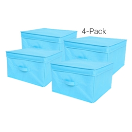 TUSK® Jumbo Storage Box 4-Pack - Aqua Dorm Essentials College Supplies