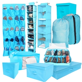 10PC Complete Dorm Organization Set - TUSK® Storage - Aqua Dorm Essentials Dorm Room Storage