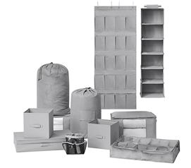 11PC Complete Dorm Organization Set - TUSK Storage - Gray Dorm Storage Solutions Dorm Organization