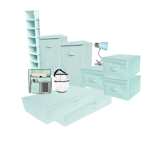 10pc Complete Dorm Organization Set Tuska Storage Calm Mint
