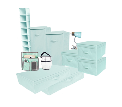 10pc Complete Dorm Organization Set Tusk Storage Calm Mint