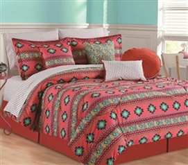 Azure Twin XL Comforter Set - 4 Piece Set Dorm Bedding Set college Twin XL Bedding