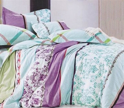 Twin XL Sunset Aqua Designer Extra Long Twin College Comforter Dorm Bedding for Girls