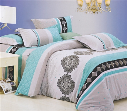 Striped Designer Patterned Dorm Bedding for Girls Maldives Twin XL Comforter Extra Long