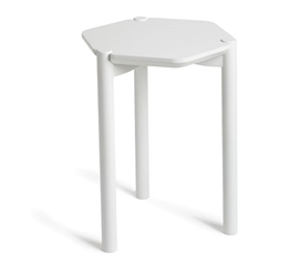 Hexagon Bedside Table - White Dorm Necessities College Supplies